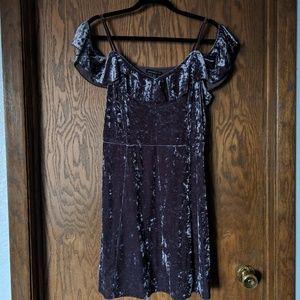 AE Crushed Velvet Off The Shoulder Flutter dress